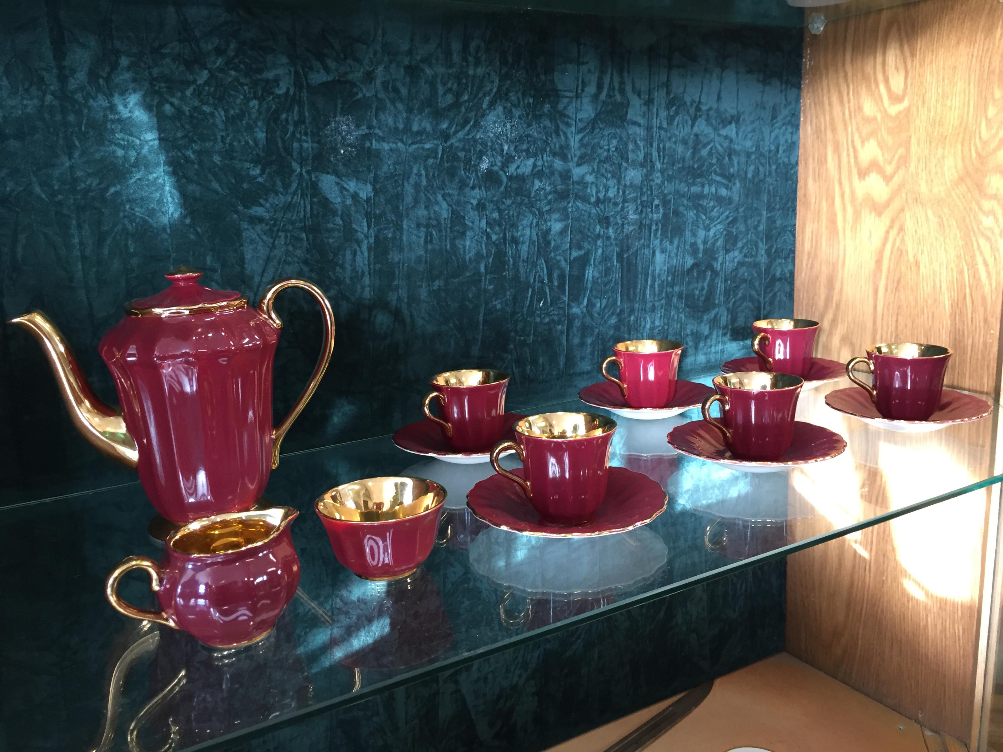 Wade England 15 Piece Tea Coffee Set Burgundy Amp Gilt