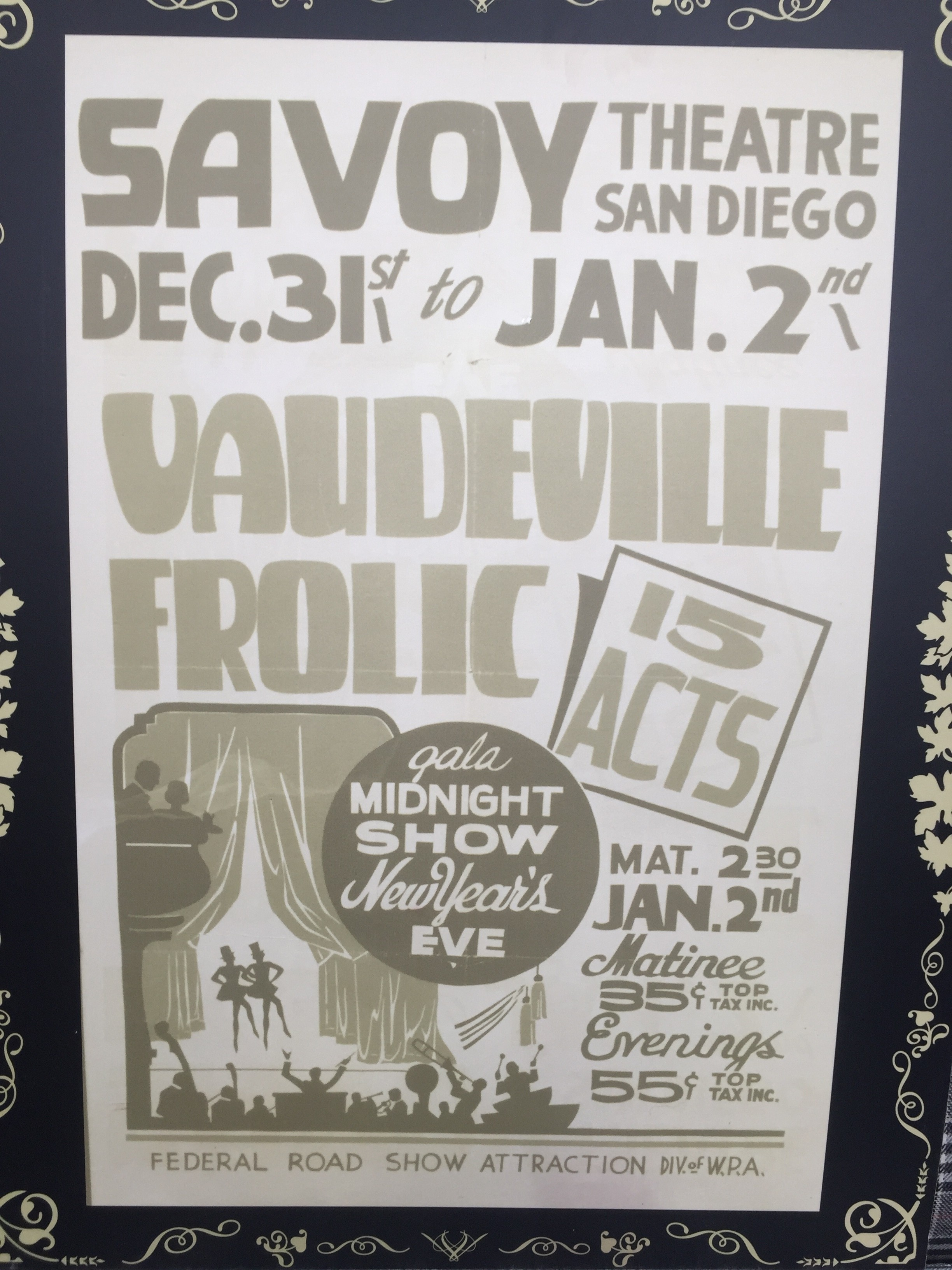 Large Photo Print Of Savoy Theatre San Diego Vaudeville
